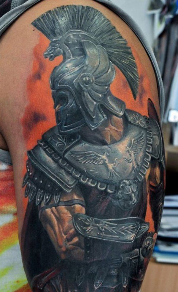 super realistic gladiator warrior tattoo on shoulder for men krieger tattoos pinterest. Black Bedroom Furniture Sets. Home Design Ideas