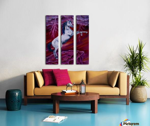 purple, red, living room decor, canvas print, split canvas, triptych, horse, wildlife