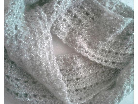 OOAK Mohair Scarf, Lace Wedding Scarf, Ready to Ship. Spring, Autumn Bridal or Evening Mohair Lace Shawl Scarf Wrap
