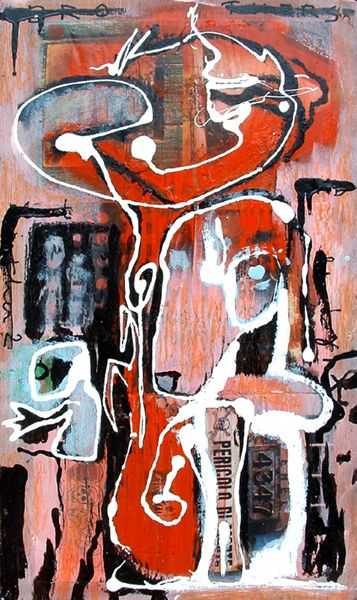 Blind Brother 2 ( 2005, acrylic and mixed media on wood, 50 x 26 cm, private collection )