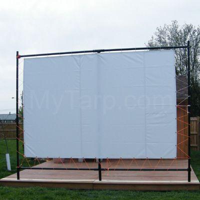 6' x 10' Outdoor Movie Screen Tarp - 16 oz Block Out Vinyl - White Color