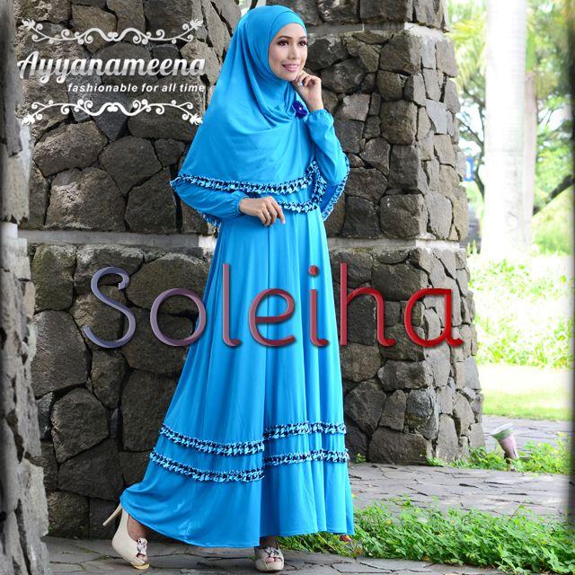 Soleiha #Blue (Dress + kerudung + Ciput) IDR 315,000 @Ayyanameena .com
