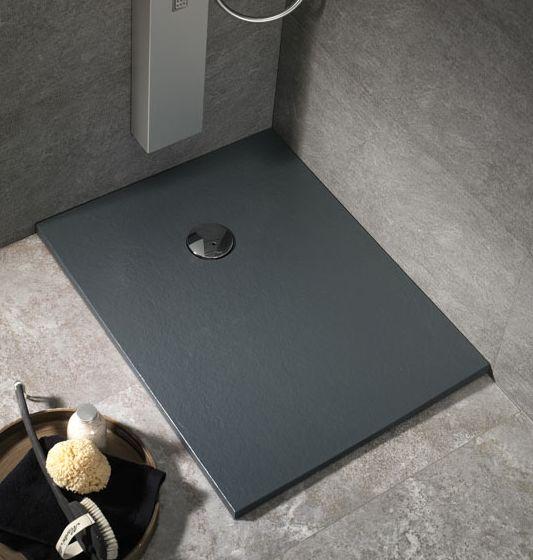 Plato de ducha de carga mineral color negro antracita, antideslizante, posibilidad de fabricación en cualquier color de la carta RAL