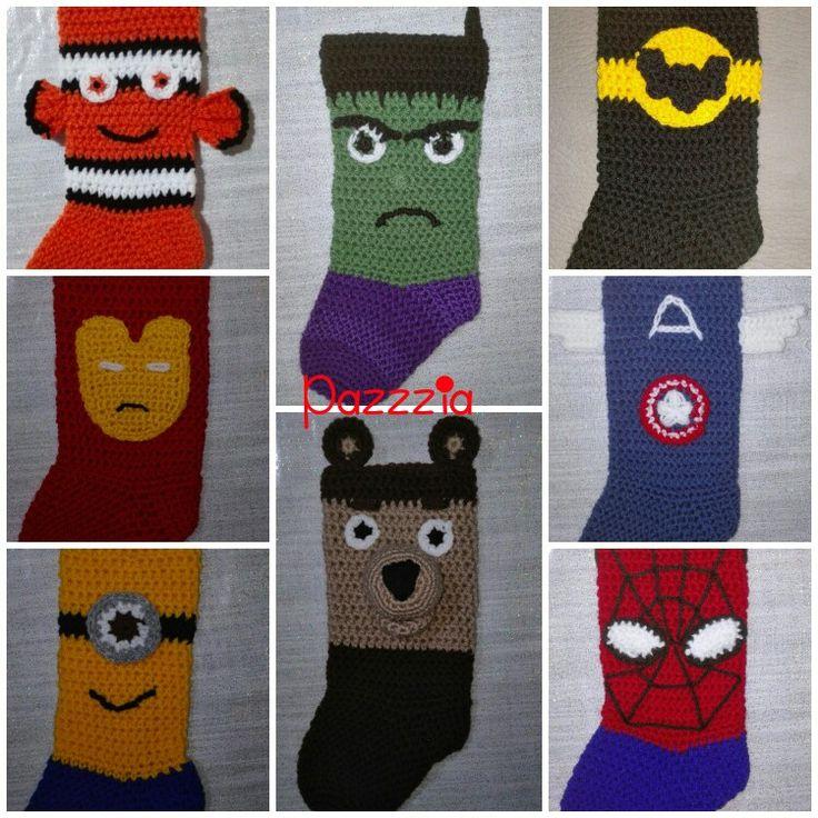 Nemo, Hulk, Batman, Ironman, Capitan America, Spiderman, Orso, Minion calza epifania crochet - Christmas Stocking