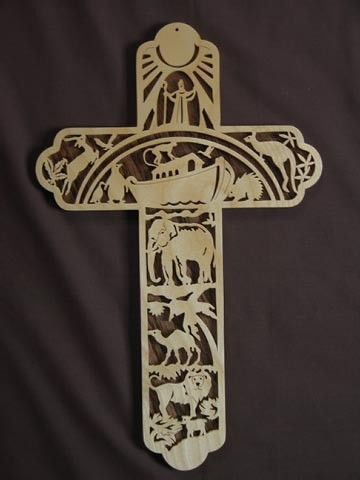 Noah's Ark Scrolled Wooden Cross Wall Hanging by Puzzimals on Etsy, $35.00
