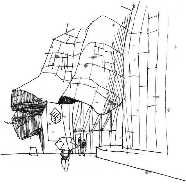 Frank Gehry Famous Building Drawing | Urban Sketchers: Rain and rock at Seattle's EMP Museum
