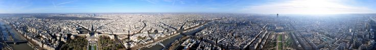 The panorama view of the Eiffel Tower in Paris, France. It should be amazing to be up there and see the city.