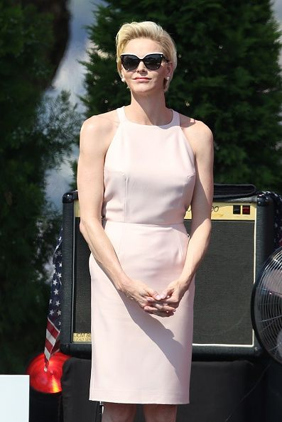 Princess Charlene of Monaco attends celebrations marking Prince Albert II of Monaco's decade on the throne, on July 11, 2015 at Monaco's palace