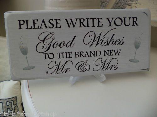 Shabby & Chic Wedding Plaque, Good Wishes | eBay