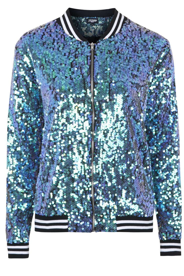 Photo 1 sur **The Taylor Mermaid Sequin Bomber Jacket by Jaded London
