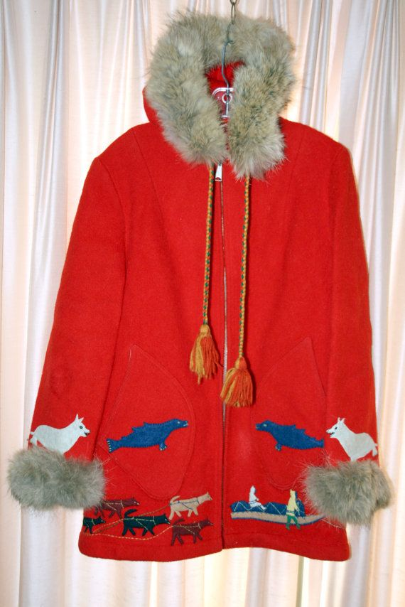 Red mid length Eskimo hooded parka that by HummingbirdNativeArt, $150.00