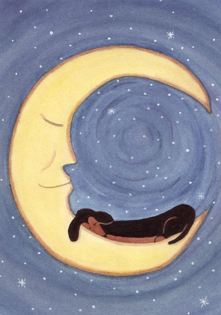 Doxie dreams. Black Dachshund on the Moon. Lynch signed folk art print. Weiner/Wiener Doxie Dog Art.