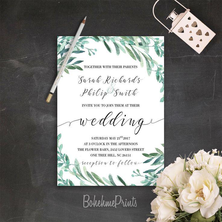 sister marriage invitation letter format%0A Green Wedding Invitation Printable Greenery Wedding Invitation Suite  Botanical Wedding Invitations Garden Wedding Invitation DIY Wedding