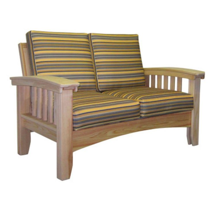 Outdoor Hershy Way Cypress Mission Wood Patio Lounge Loveseat - C2DE56-NA-FM