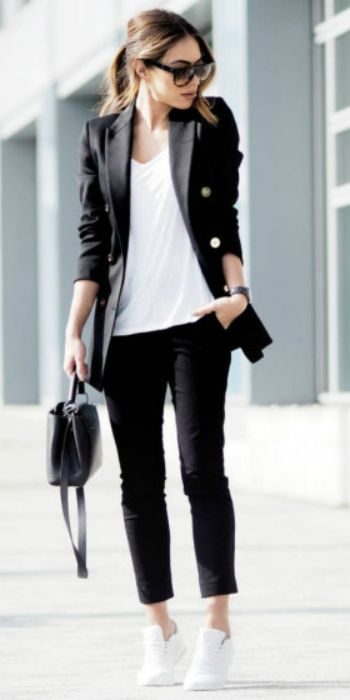 Lydia Elise Millen + black double breasted blazer + loose white t-shirt + cropped black tailored trousers + white leather trainers.  Trousers: Joseph, Blazer: Reiss, Bag: Louis Vuitton, Trainers: Nike, Tee: Missguided. Spring Outfits