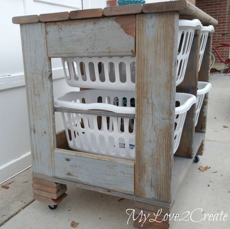 DIY Laundry Basket Crate. Made out of old scrap wood. Find out just how easy it is to make thanks to the tutorial by @dmcarwin Don't have old deck wood laying around but want this look? Rust-Oleum Ultimate Wood Stain in Weathered Gray http://www.rustoleum.com/product-catalog/consumer-brands/wood-care/ultimate-wood-stain/