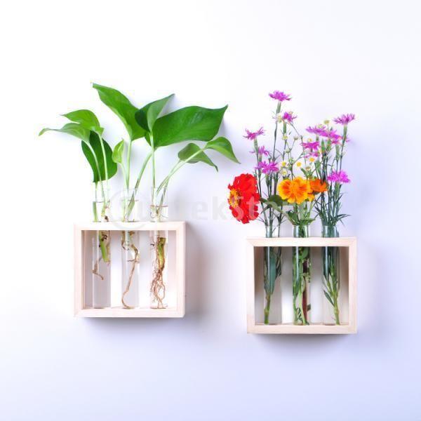Wall Hanging Flower Vase Bottle In Wooden Stand Houten Bloemen Bloemenvazen Decoraties