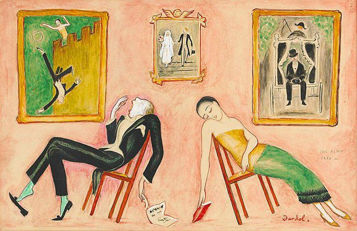 Family Idyll by Nils Dardel,(Swedish 1888-1943)
