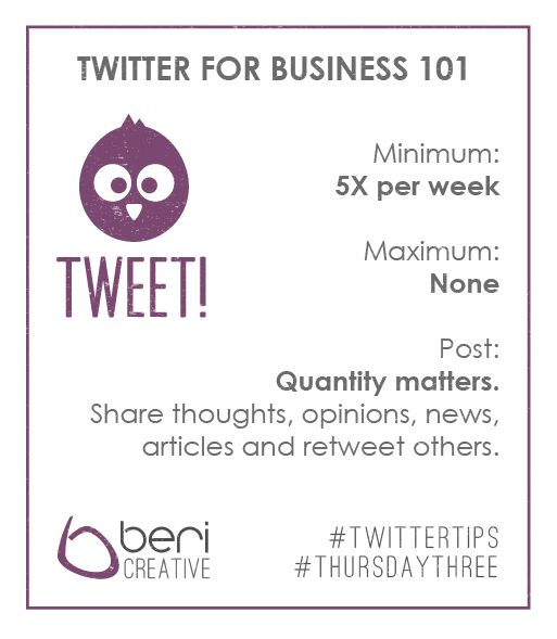 Last week we gave you some Facebook Tips for your business page - today it's Twitter's turn: At least five times a week, keep it short, don't hold back on quantity. #ThursdayThree