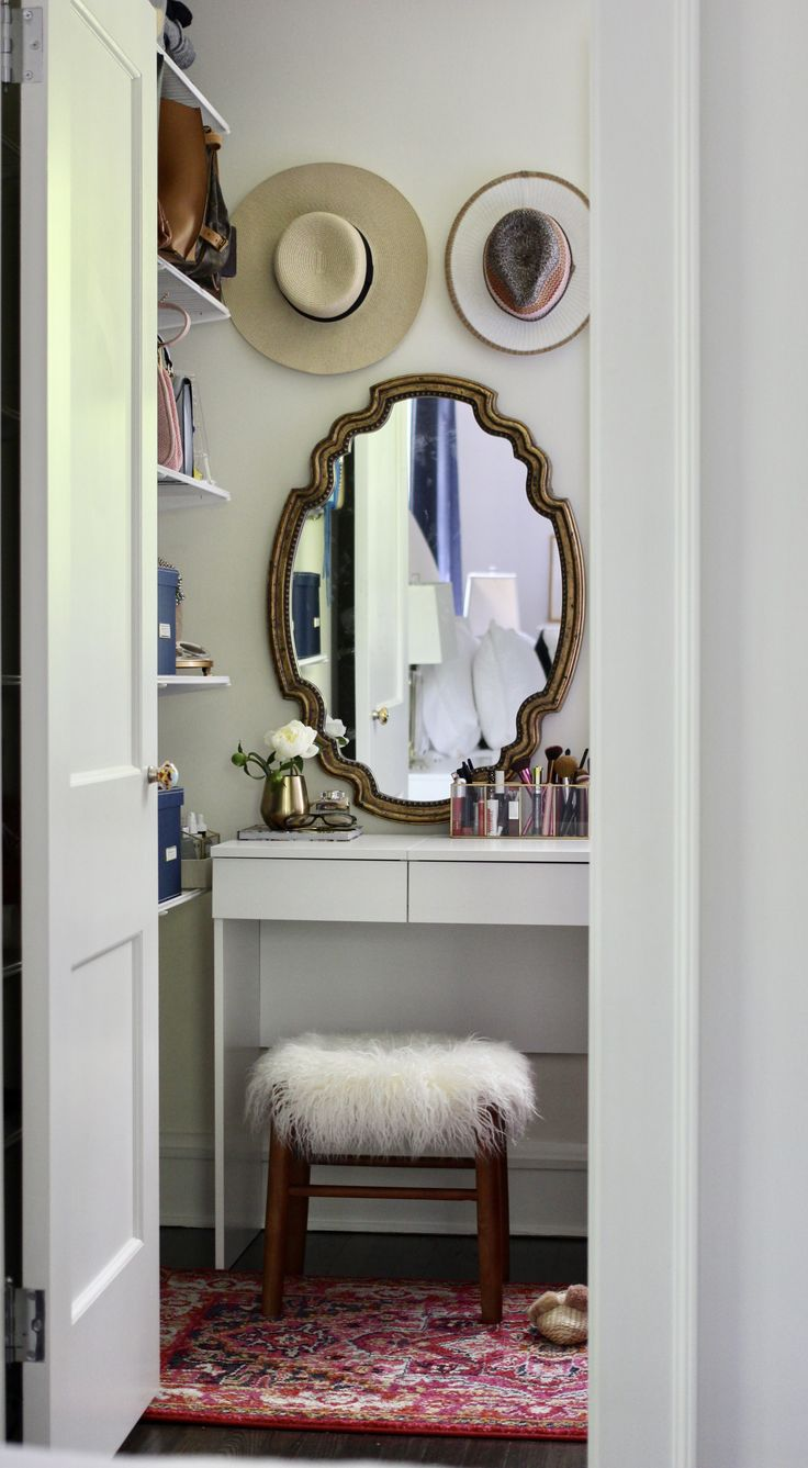 Small Spaces Decor Inspiration: How to Create a Vanity in Your Closet with Rugs USA's Chroma Center Medallion CB10 Rug!