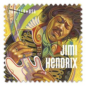 Jimi Hendrix Stamps: Combining influences from rock, modern jazz, soul, and the blues with his own innovations, Hendrix created a unique style that influenced musical artists of his era and continues to inspire musicians into the 21st century. Issue Date: March 13, 2014