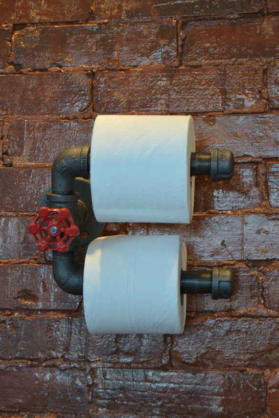 Double Roll Industrial Steel Pipe Toilet Paper Holder   22 Totally Quirky Toilet Paper Holders