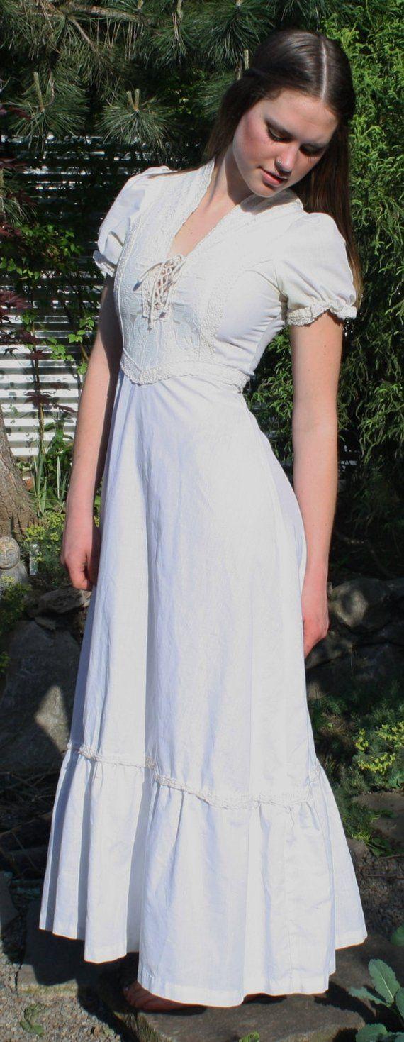 Vintage 70 S Gunne Sax White Maxi Dress Etsy White Maxi Dresses Short Maxi Dress Maxi Dress [ 1469 x 570 Pixel ]