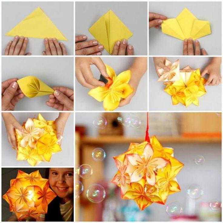 La boule de fleurs en origamie! Faites-en une déco suspendue ou une veilleuse! - Bricolages - Trucs et Bricolages