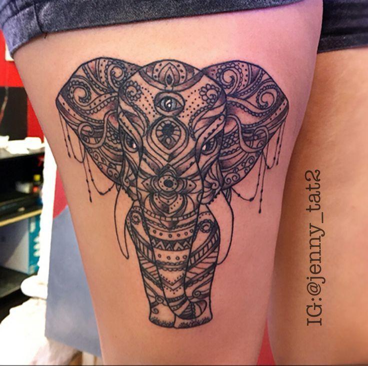 Elephant Mandala tattoo design on thighs. mehndi tattoo and laces tattoo design. Tattooed by Jenny Forth at Circus Tattoo in Miami Beach, FL.  Instagram: jenny_tat2
