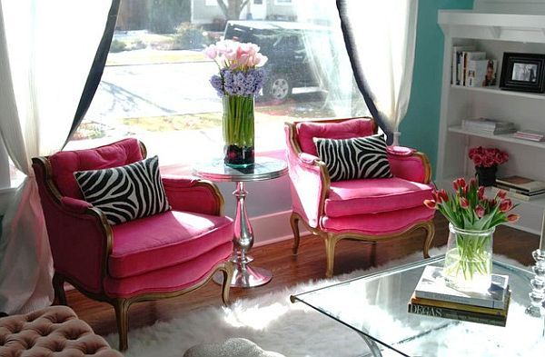 Pink Room Decor: How to Beautify Your Home with Pink ----  traditional living room with pink chairs