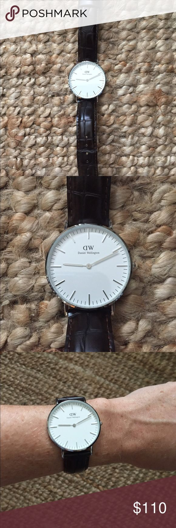 Daniel Wellington Watch Only worn a few times!! Dark brown faux croc band with a silver face. SO attractive! Send an offer! Daniel Wellington Accessories Watches