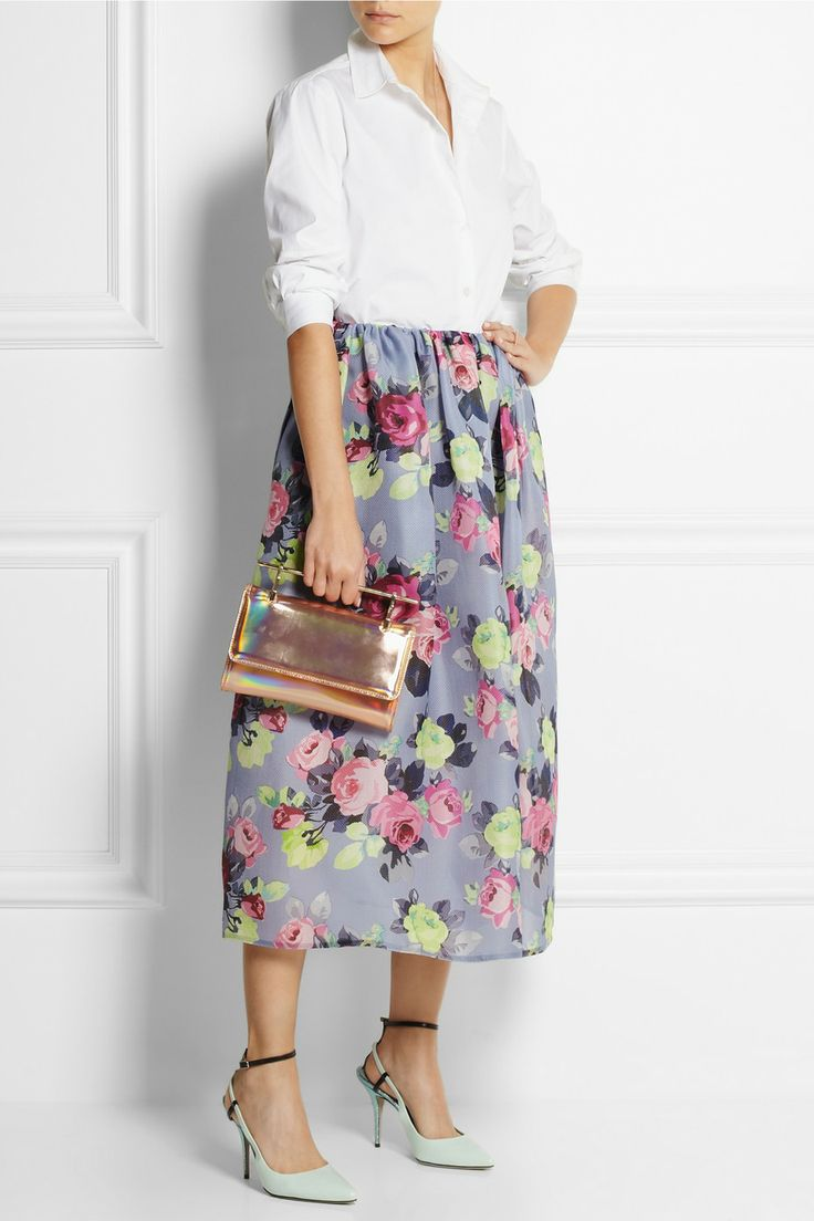 Carven | Rose-print basketweave silk midi skirt | Carven ...