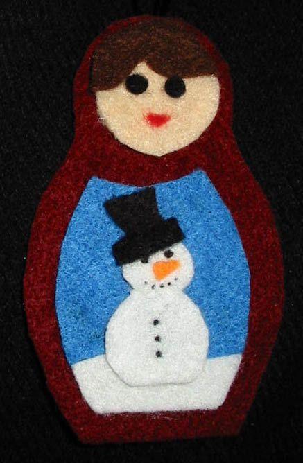 Matryoshka doll (Russian Doll) felt Christmas decoration - with snowman.