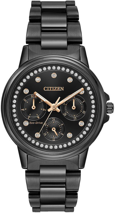Citizen Eco-Drive Ladies' Black Ion Plated Watch With Swarovski Crystal Accents Fd2047-58E