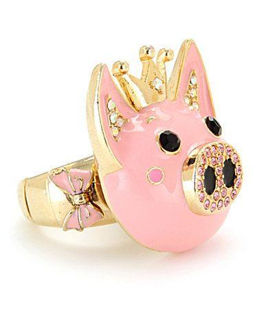 Betsey Johnson Rose Garden Pig Stretch Ring | Dillards.com on we heart it / visual bookmark #21364765