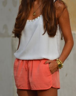 Coral + white.Fashion, Summer Outfit, Style, Clothing, White Shirts, White Gold, Arm Candies, Coral Shorts, Summer Shorts Outfit Dresses