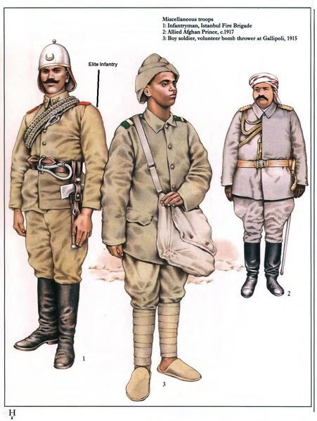Ottoman miscellaneous troops 1914-18: 1: Infantryman, Istanbul Fire Brigade; 2: Allied Afghan Prince, c.1917; 3: Boy soldier, volunteer bomb thrower at Gallipoli, 1915