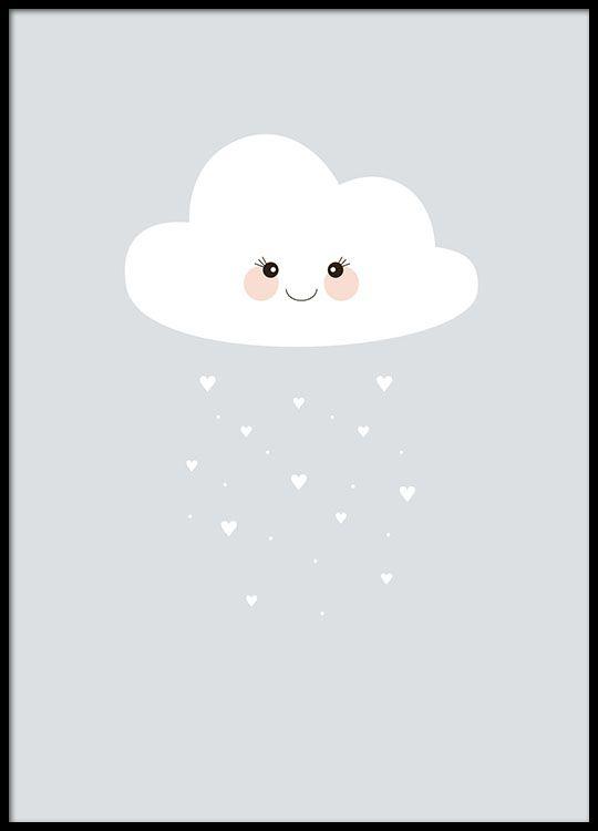 Poster mit niedlicher Wolke, aus der Herzen regnen.