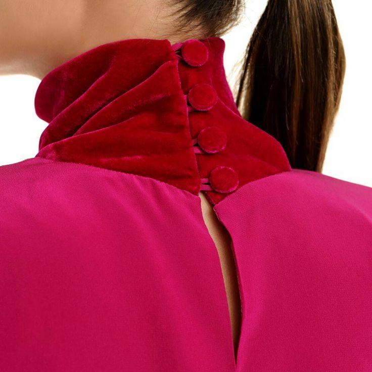 Magenta silk and silk velvet dress #magenta #silk #velvet #SilkVELVET #dress #minidress #highcollar