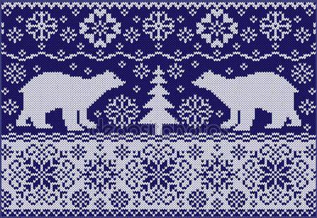 Скачать - Вязаные украшения с медведями — стоковая иллюстрация #15896913