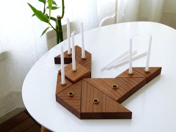 Hanukkah Menorah Jewish gift Tangram puzzle wooden modular Hanukkah Menorah Hanukkah table decoration Made in Israel