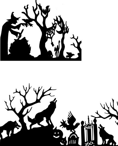 halloween silhoutte - blow these up and put them in a window with lights around the frame.