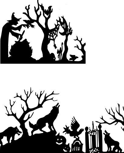 Halloween Silhouette Scene  Free SVG Files
