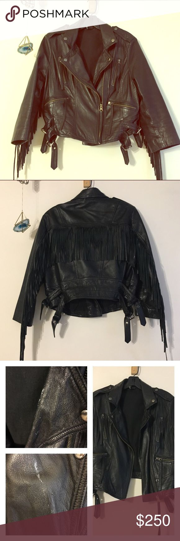 Top Shop Genuine Leather Jacket with Fringe 12 Such an
