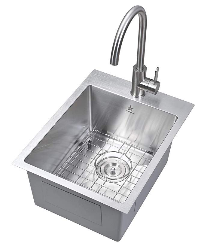 Starstar 15 X 20 Inch Drop In Topmount 304 Stainless Steel Single Bowl Bar Kitchen Laundry Yard Office Sink With Grid Amazon Com With Images Sink