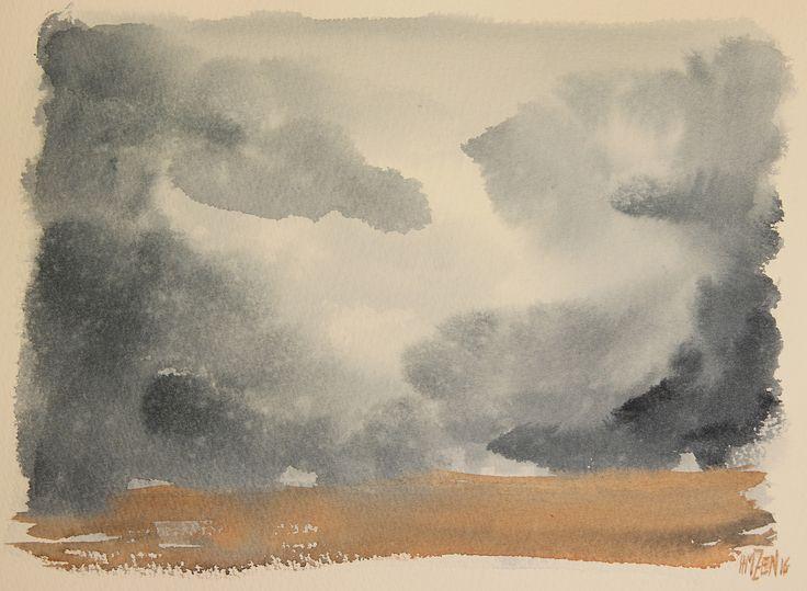 Escenas en acuarela - Nubes y tierra. Watercolor scenes - Clouds and land. HMZEN'16