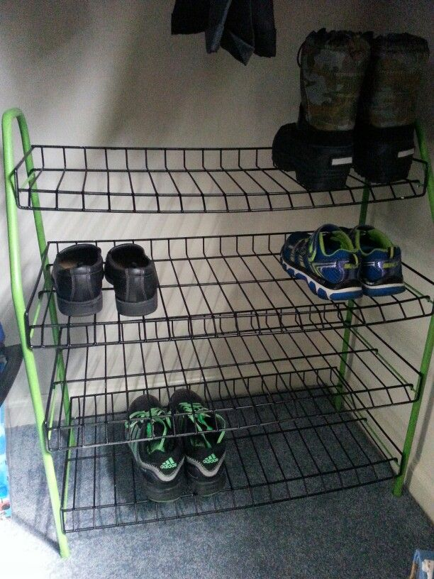 Minecraft color shoe rack :)  Used black spray for metal paint by Valspar Green is a Valspar premium finish spray paint in tropical foliage -satin