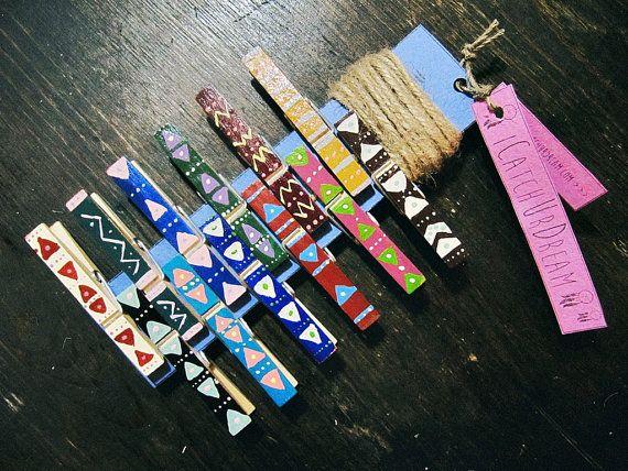 Clothespins Photo Frame Aztec Style Boho Photo от iCatchUrDream