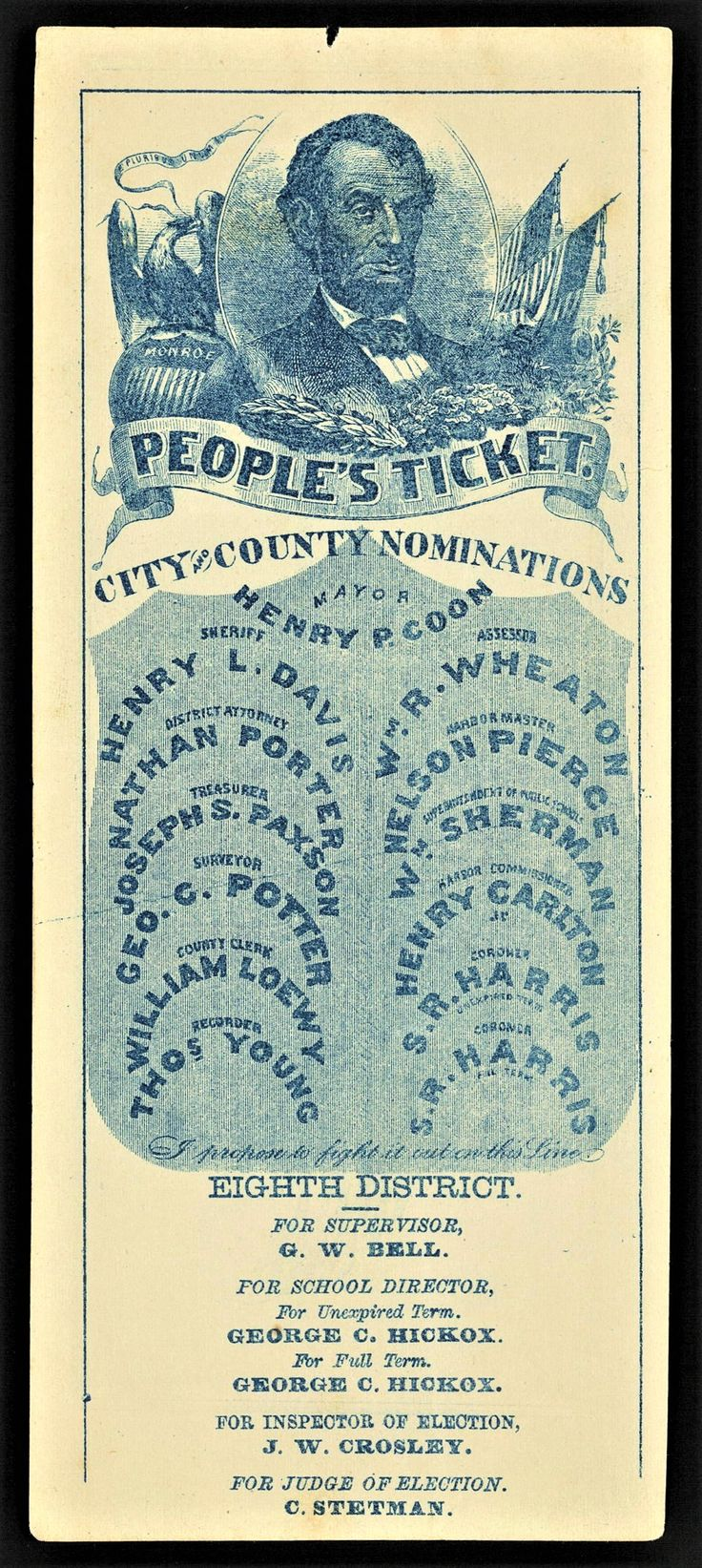 1862 California Republican (People's) Ticket -  Abraham Lincoln portrait, Republican Party -  Eighth District