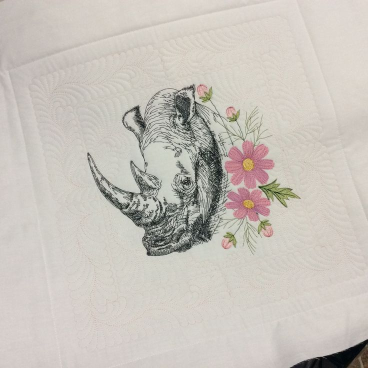 Rhino and cosmos flowers by stitchdelight.net